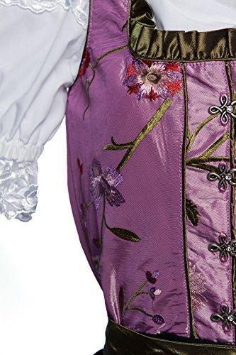 Midi Dirndl lila mit Blumen bestickt, dunkelgrüne Schürze und weiss bestickte Bluse 3 tlg Violett