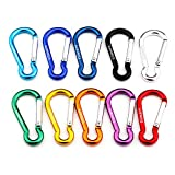 Gimars Spring-loaded Gate Carabiner Clips 10 PCS 6cm D Shape with Locking Screw Nuts, Small/Mini Carabiner for Key Chain Climbing Camping Fishing Hiking Travaling Multicolored