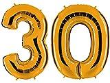 PartyMarty Ballon Zahl 30 in Gold - XXL Riesenzahl 100cm - zum 30. Geburtstag - Party Geschenk Dekoration Folienballon Luftballon Happy Birthday