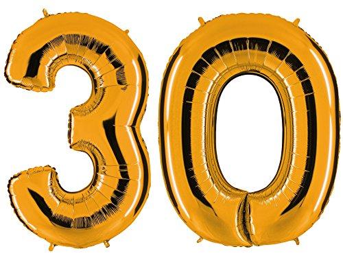 ld - XXL Riesenzahl 100cm - zum 30. Geburtstag - Party Geschenk Dekoration Folienballon Luftballon Happy Birthday - PARTYMARTY (30 Ballon)