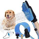 NAttnJf Haustier-Badehandschuh-Hundeduschemassage-Pflegenbürsten-Sprüher mit Wasserschlauch