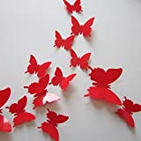 Inovey 12Pcs 3D Lucido Farfalla Parete Adesivo Frigorifero Magnete Home Decor Art Applique-Rosso
