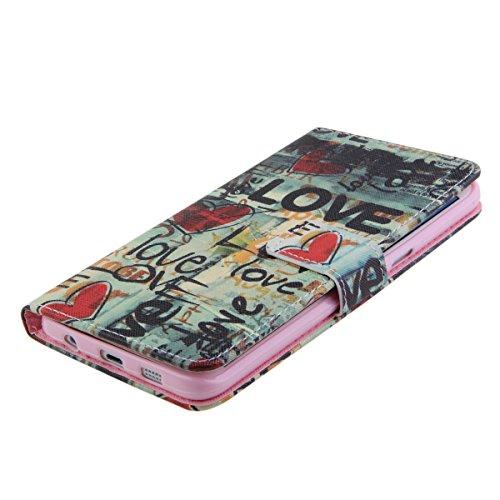 iPhone 5S Wallet Case Cover - Felfy Ultra Slim Cuir Coque Pour Apple iPhone 5/5S Flip Love Motif PU Étui Portefeuille Housse Etui Holster + 1x Rouge Touch Stylus + 1x Rouge Hibou Anti Pl