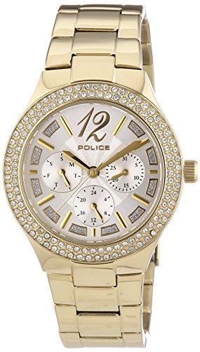 POLICE Damen-Armbanduhr Glitz Analog Quarz Edelstahl P14306MSG-04M