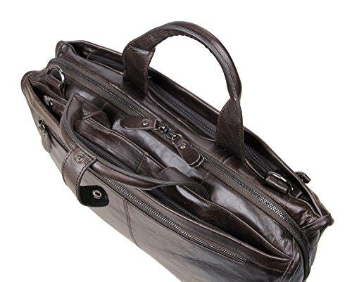 YAAGLE Herren Tasche aus echtem Leder Handtasche Businesstasche Herren Schultertasche aus echtem Leder-grau grau