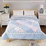 Alicemall Tagesdecke Baumwolle Bettüberwurf 150x200cm Sofa Couch Überwurf Decke Sommerdecke Gesteppt Steppdecke (150 x 200 cm, Blau)