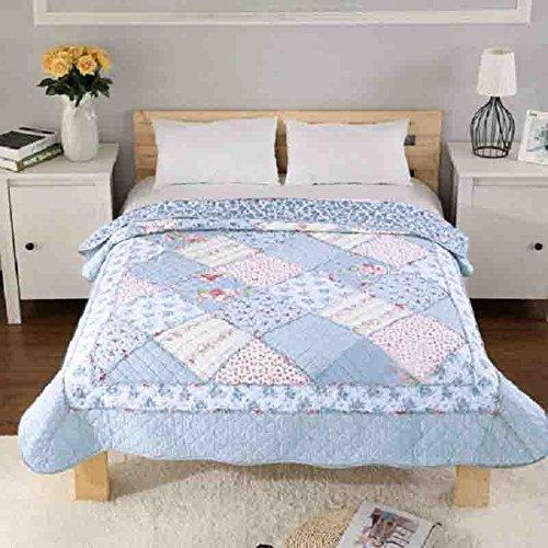 Alicemall Tagesdecke Baumwolle Bettüberwurf 150x200cm Sofa Couch Überwurf Decke Sommerdecke Gesteppt Steppdecke (150 x 200 cm, Blau) (Blaue Couch)