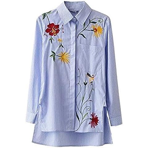 Camisa larga manga Vestido de rayas bordado , picture color , l