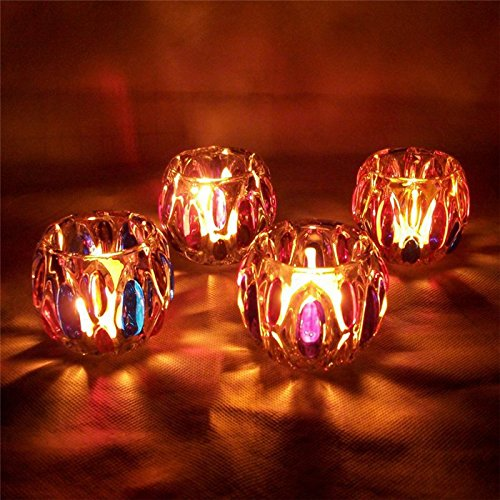 Bluelover Bunte Glas Kerze Halter Kandelaber Leuchter Kerzenhalter Candle-Light Dinner Home Decor