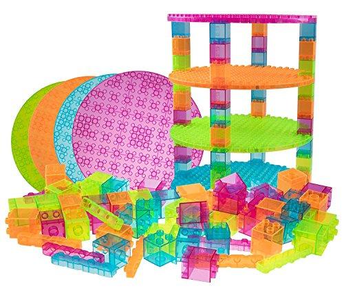 """Premium-Set für runde Turm-Konstruktionen - 4 Bauplatten (Ø 12,5""""/31,75 cm), 48 2x2-Bausteine & 12 Diagonal-Bausteine - mit allen Marken für große Bausteine kompatibel - nur für Steine mit großen Noppen geeignet - Transparent Blau, Grün, Orange, Lila"""