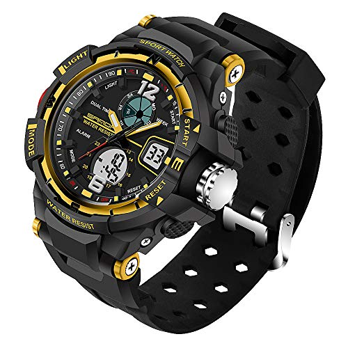 Mianova Herren-Armbanduhr Digital mit Silikon-Armband Chronographen Wasserdicht Stopp Alarm Flieger Piloten Uhr Sportuhr Quarz Gelb