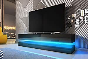 aviator meuble tv suspendu table basse tv banc tv de salon 140 cm noir mat noir. Black Bedroom Furniture Sets. Home Design Ideas