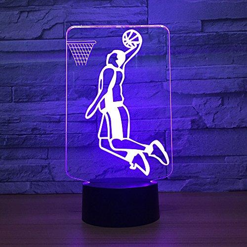 ool Slam Dunk Sport 3D Led Nacht Lampe Farbe Geändert Schreibtisch Licht Kid Boy Man Geschenk Home Decor 3D Nachtlicht ()