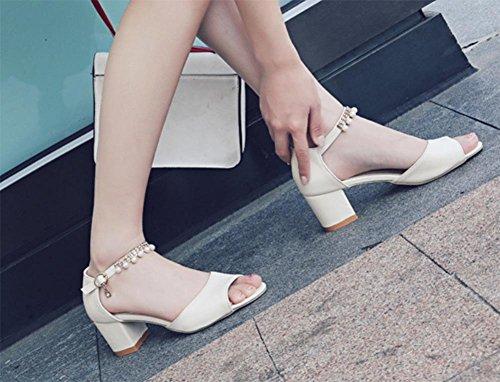 Fischkopf High Heels Sandalen Frauen Sommer Sandalen dick mit Perlen Beige