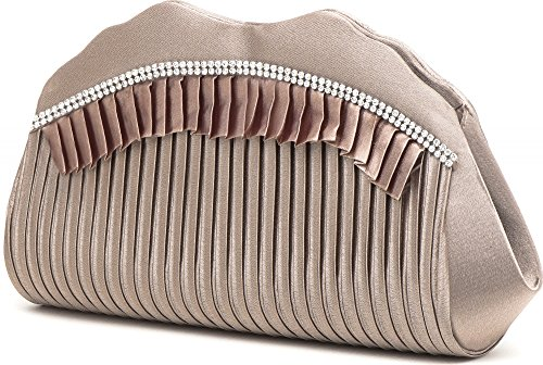 VINCENT PEREZ Borsetta, Borsa a tracolla, Pochette di raso increspato con strass e tracolla rimovibile (120cm) beige