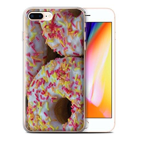 Stuff4 Gel TPU Hülle / Case für Apple iPhone 8 Plus / Tower/Erdbeere Muster / Schmackhafte Donuts Kollektion Weiß Glasiert