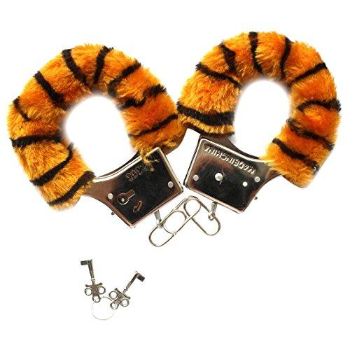 Iiniim - 1paio di manette in pelliccia con serratura regolabile, gioco per adulti Tigre Rayure taglia unica