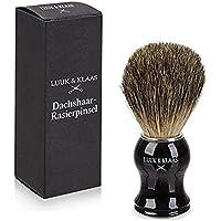 LUUK & KLAAS brocha de afeitar de pelo de tejón de 100% auténtico pelo de tejón con mango de óptica de madera de alta calidad | 2 años de garantía de satisfacción | pincel de espuma de afeitado, accesorio para afeitado