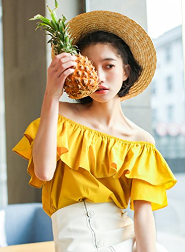 Azbro Women's Fashion off Shoulder Short Sleeve Ruffle Blouse yellow