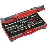 """SAM Outillage 75-SH28Z - Estuche de llaves de vaso y accesorios (1/2"""", 27 herramientas de 8 a 32 mm)"""