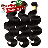 Musi 8A Brazilian Body Wave Virgin Hair Weave 3 Bundles Cheap Estensioni Dei Capelli Umani 100% Unprocessed Virgin Brazilian Human Hair Bundles Natural Color 300g (14 16 18 Inch)