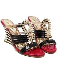 Zapatillas Cool 9cm Tacón de cuña Hueco Diamante Sandalias Ascensor Zapatos Zapatos De Vestir Romano Zapatos Mujer Dulce Punta abierta Bomba Zapatos casuales Zapatos de la Corte Tacones altos Tamaño d , black , 37