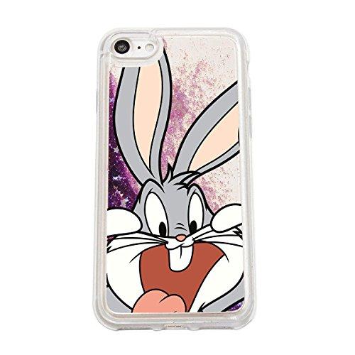 finoo | Iphone 7 Flüssige Liquid Lila Glitzer Bling Bling Handy-Hülle | Rundum Silikon Schutz-hülle + Muster | Weicher TPU Bumper Case Cover | Tweety Happy Bugs Close Up