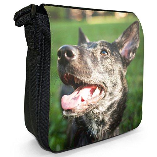 German Shepherd Dog-Borsa a spalla piccola di tela, colore: nero, taglia: S Nero (German Shepherd Mixed Breed)