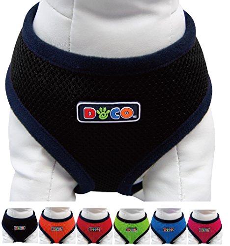 DDOXX Hunde-Softgeschirr aus Air Mesh | verschiedene Farben & Groessen | fuer große & kleine Hunde | Brust-Geschirr | Schwarz, Größe B | [Leine & Halsband separat erhältlich]