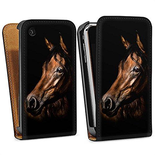 Apple iPhone SE Hülle Silikon Case Schutz Cover Pferd Horse Braun Downflip Tasche schwarz