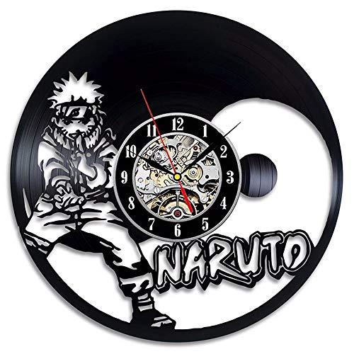 mebeaty Vinyl-Schallplatte Wanduhr Naruto Runde Hohl Vinyl Material Dekoration Uhr für Kinder Schlafzimmer, Wohnzimmer, Küche, Bad