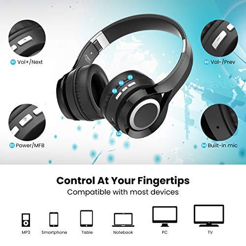 Bluetooth Kopfhörer, ELEGIANT Bluetooth 4.1 Wireless Stereo Headset drahtlose Kopfhörer Ohrhörer On Ear Kopfhörer + Mic/Freisprechfunktion + 3,5mm Audio AUX für Smartphone - 5