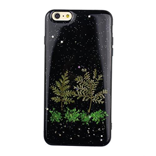 iPhone 6 Transparent Coque avec Fleurs séchées, iPhone 6S Doux TPU Arrière Etui, Moon mood® Ultra Mince Flexible TPU Silicone Housse Transparent Etui avec Vraie Fleur pour Apple iPhone 6 Téléphone Coq Fleur-8