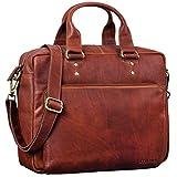 STILORD 'Jack' Ledertasche Aktentasche Herren Vintage Umhängetasche für Büro Business Arbeit 13,3 Zoll Laptoptasche für große DIN A4 Aktenordner echtes Leder, Farbe:Cognac - braun