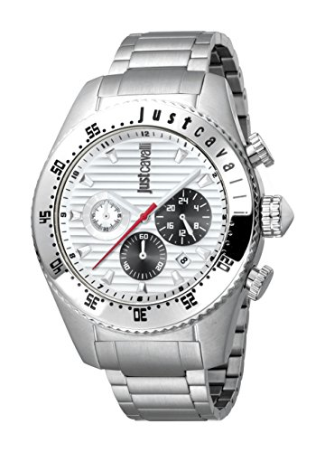 Just Cavalli Men's JC1G040M0055 Sport Silver Dial with Silver Stainless-Steel Band Watch.