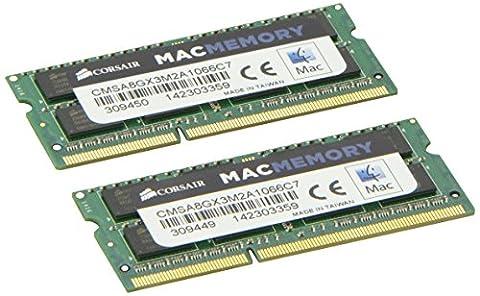 Corsair CMSA8GX3M2A1066C7 Apple Mac 8GB (2x4GB) DDR3 1066Mhz CL7 Mémoire pour ordinateur portable SODIMM pour produits