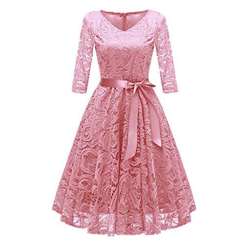 CixNy Damen Kleider Röcke Islamischen Arabisch Sommerkleider Strandkleid Sommer Vintage Prinzessin Floral Lace Cocktail Ärmellos-Thirds Hülse V-Ausschnitt Party Abendmode Tüllkleid (Rosa, ()