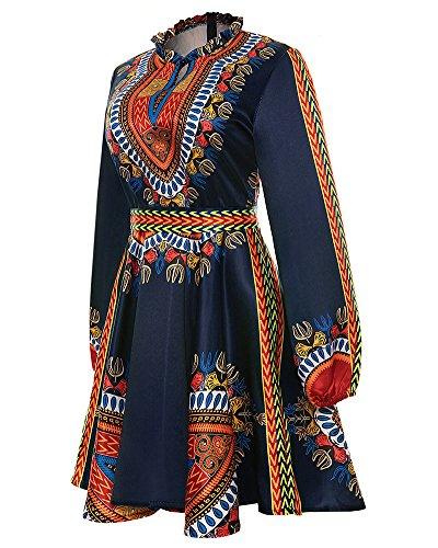 Vestito Donna Abito Abito Estivo Donne Tradizionale Africana Stampa Abito Manica Lunga Midi Vestito Nero