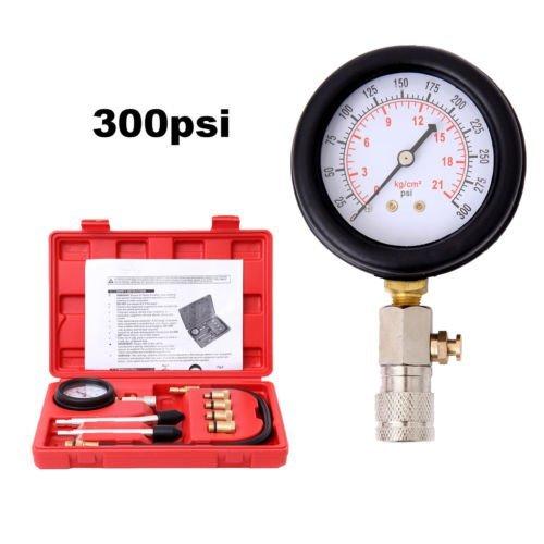 Ridgeyard 300 psi Benzin Gas Motor Zylinder Kompression Tester Gauge Kit Tool Diagnostic Tester mit Fall Automotive Tool Set (Psi 300 Gauge)