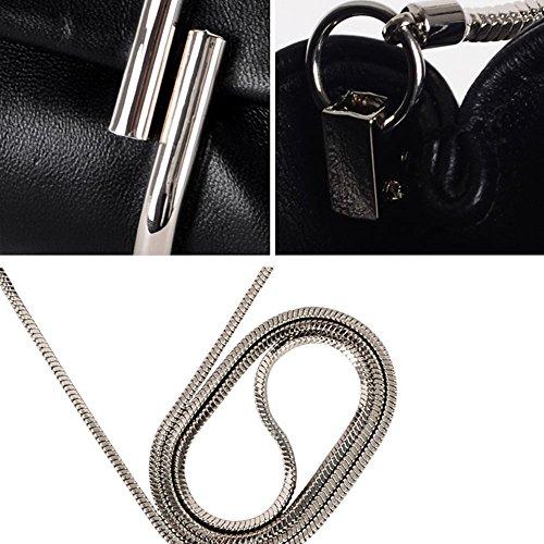Woolala Luxury Paperclip Genuine Leather Clutch Shoulder Bag Chain Bag Elegant Wallet, DGreen Black