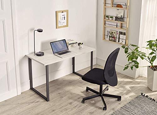 HOGAR24 ES Mozart - Mesa de Estudio, Escritorio o despacho, Mesa de Oficina Color Madera Blanco Vintage, Patas Metálicas Negro. Medidas: 120 x 60 x 75 cm de Alto