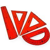 Westcott translúcido irrompible Flexible Regla–4piezas–incluye 30cm Ruler, 2escuadra y transportador de ángulos, color rojo