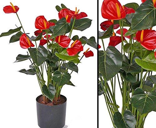 """Kunstblume Anthurium Flamingoblume """"Kuba"""" mit 14 roten Blüten, Gesamthöhe inkl. Topf ca. 80cm – Kunsblumen künstliche Blumen Kunstpflanzen künstliche Pflanzen Blumen"""