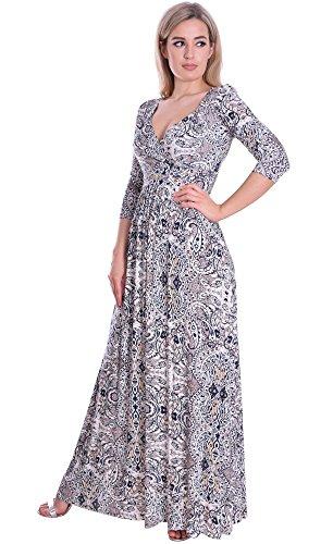 MontyQ Elegantes Langes Damenkleid Fruehling Empire Stil 3/4 Arm 36/38
