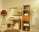 SAM Badezimmer-Set Lombok aus Teak-Holz, mit Marmor Waschbecken, Waschbeckenunterschrank, Spiegel und Regal mit Ablageflächen, ausdrucksstarke Maserung