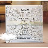 Lnkey Shop 20 x Perlado blanco tarjetas de nombre de boda de invitaciones de romántico de tallado de mariposa del tabla de marca de nombre de lugar para boda bautismo cumpleaños comunión graduación partido o varias ocasiones