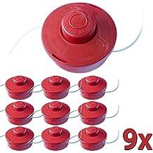 9x Nemaxx FS2 carrete de hilo doble con arrancador automático accesorios de corte hilo de nylon línea de nylon carrete para desbrozadora gasolina - rojo