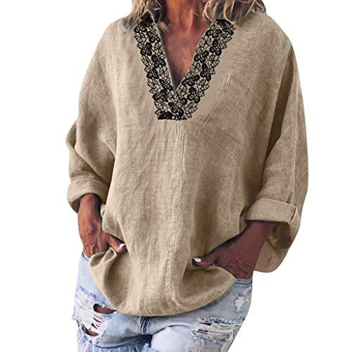 AIFGR T-Shirt Damen Einfarbiges V-Ausschnitt Spitzen-Langarm-Reversoberteil Top Schulterjacke Sweatshirt Pullover Oberteile Oversize Tops Blusen T-Shirt Loose Sweater Sweatpullover Strickpullover