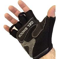 Fingerless Weight Lifting Gloves - Gel Shock Technology Padding *Black/Red MEDIUM*