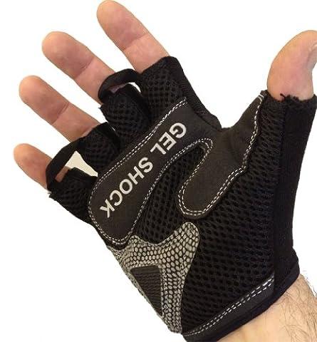 Fingerlos Trainingshandschuhe Fitnesshandschuhe Handschuhe *Fahrradhandschuhe mit Gel Einsätzen auf der Handinnenfläche* ROT/SCHWARZ MEDIUM (M)